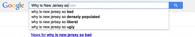 Google Autocomplete about New Jersey
