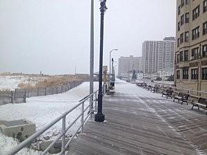 Snow on the Atlantic City boardwalk