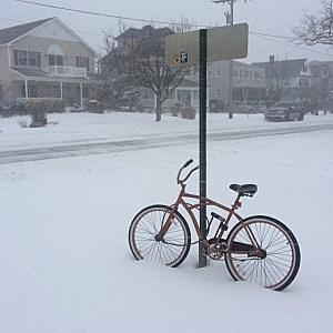 A bike in the snow in Bradley Beach