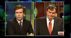 Governor Christie (played by Bobby Moynihan) interviewed by Piers Morgan (Taran Killam) on Saturday Night Live
