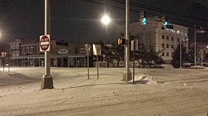 Snow in downtown Toms River early Wednesday morning