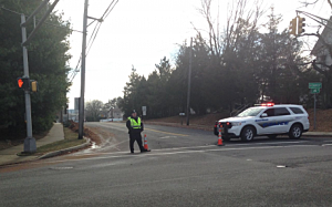 Police block Line Road in Holmdel