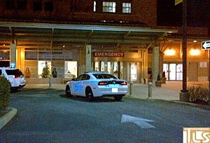 Police at Kimball Medical Center following a shooting at the Ramada Inn of Toms River