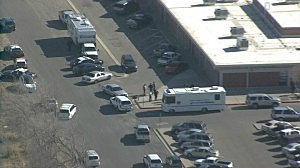 Aerial view of Berrendo Middle School in Roswell, New Mexico after a shooting