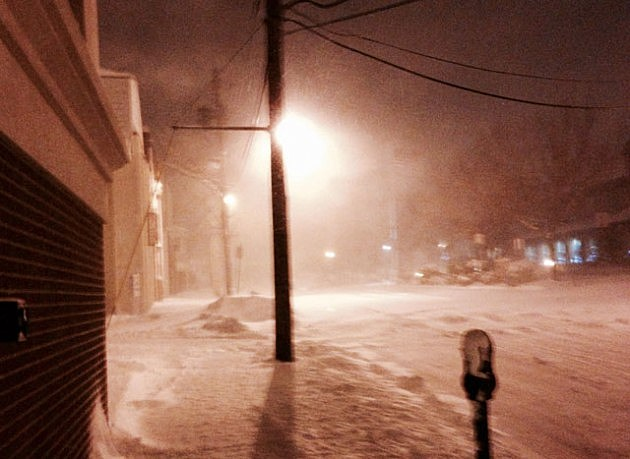 Snow in downtown Toms River