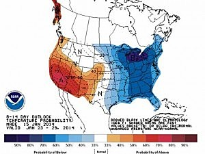National Weather Service temperature outlook for January 23 - 29