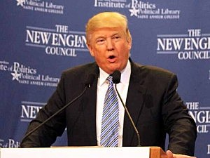 Donald Trump speaks at Saint Anselm College in Manchester, NH