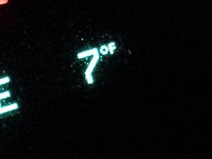 Dashboard displays temperature on Tuesday morning