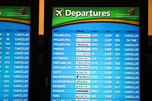 Departure screens at Atlanta Hartsfield-Jackson International Airport