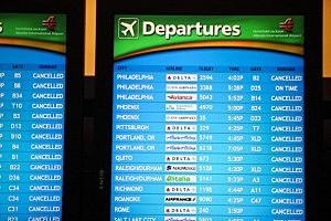 Departure screens at Atlanta Hartsfield-Jackson International Airport