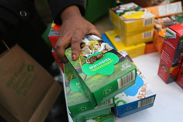 Girl Scouts Sell Cookies for sale in front of one of California's marijuana dispensaries