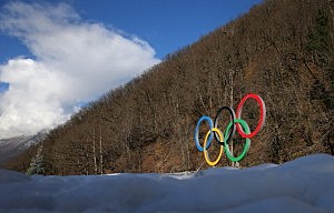 The Olympic rings are seen prior to the Sochi 2014 Winter Olympics at the Rosa Khutor Mountain village cluster