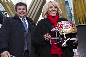 Arizona Cardinals President Michael Bidwill (L) and Arizona Gov. Jan Brewer attend  a ceremony for the NFL Super Bowl Host Committee to pass the hosting duties off to Arizona, the site of next year's championship, in Times Square