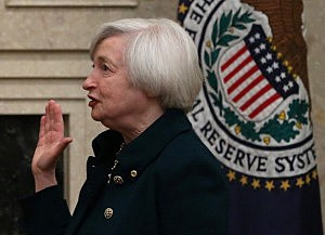 Federal Reserve Vice Chairman Janet Yellen is sworn as Federal Reserve Chairman at the Federal Reserve Building