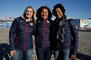 Bobsledders Jamie Greubel, Elana Meyers and Jazmine Fenlator of the United States visit the set of The Today Show ahead of the 2014 Winter Olympics