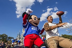 Super Bowl XLVII MVP Malcolm Smith of the Seattle Seahawks participates in his parade at the Magic Kingdom at Walt Disney World Resort