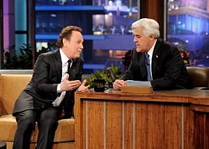 "Actor Billy Crystal (L) and Jay Leno during the final episode of ""The Tonight Show with Jay Leno"""