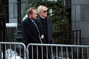 Cate Blanchett (R) attends the funeral service for actor Philip Seymour Hoffman at St. Ignatius Of Loyola in New York