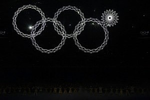 Snowflakes transform into four Olympic rings with one failing to form during the Opening Ceremony of the Sochi 2014 Winter Olympics