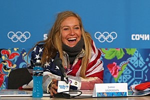Gold medalist Jamie Anderson of the United States talks to the media at a press conference following the Women's Snowboard Slopestyle Finals