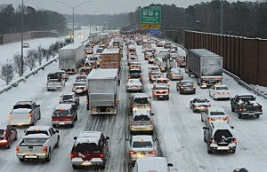 Northbound on Interstate 85 is at a standstill at rush-hour in Durham, North Carolina.