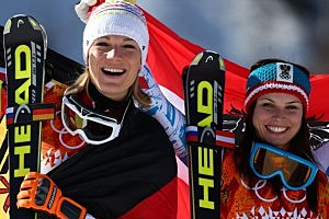 Anna Fenninger of Austria wins the gold medal, Maria Hoefl-Riesch of Germany wins the silver medal during the Alpine Skiing Women's Super-G