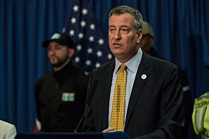 New York City Mayor Bill DeBlasio speaks at a press conference announcing his traffic safety plan