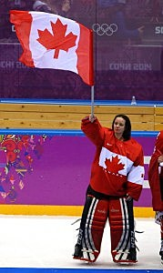 Shannon Szabados #1 of Canada celebrates after defeating the United States 3-2 in overtime during the Ice Hockey Women's Gold Medal Game