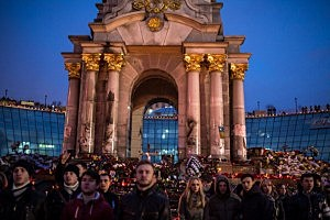 People gather for prayers and to listen to speakers in Independence Square on  in Kiev, Ukraine.