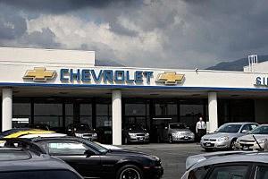 General Motors cars are displayed at a California dealership