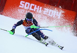 Ted Ligety of the United States competes during the Alpine Skiing Men's Super Combined Downhill