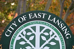 """East Lansing """"welcome"""" sign"""
