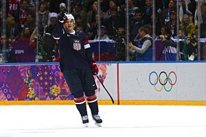 T.J. Oshie #74 of the United States celebrates after scoring on a shootout