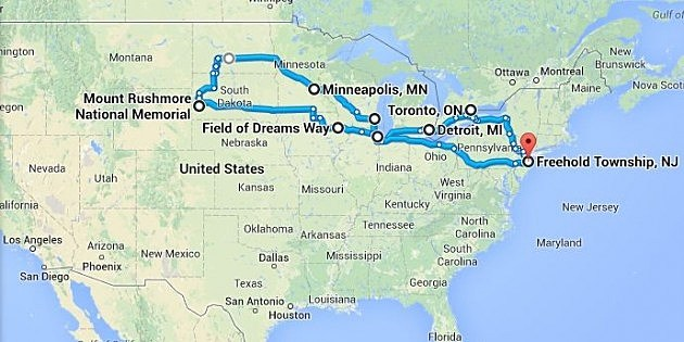 Preliminary layout for my road trip this summer.