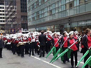 Jackson Memorial High School Jaguar Band marches in the New York St. Patrick's Day Parade