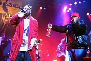 Ghostface Killah, on left, and Raekwon of the Wu-Tang Clan performs during a party to celebrate the release of their album 'Iron Flag' at the Hammerstein Ballroom in New York City.  By: Scott Gries Collection: Getty Images Entertainment