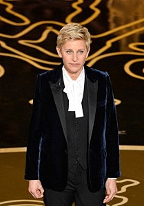 Ellen DeGeneres speaks onstage during the Oscars