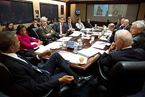 President Barack Obama convenes a National Security Council meeting in the Situation Room of the White House to discuss the situation in Ukraine