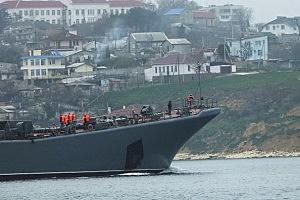 A Russian warship, part of a blockade of Ukrainian ships, is viewed in Sevastopol harbor in Sevastopol, Ukraine.
