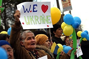 Hundreds of Ukrainian women, and some men, hold a demonstration in support for peace and for keeping Ukraine unified  in Bakhchisaray, Ukraine.