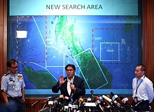 Dato' Azharuddin Abdul Rahman, director general of the Malaysian Department of Civil Aviation briefs the media over latest updates on missing Malaysia Airline MH370
