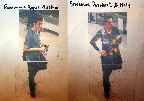 This composite of images #477770287 & #477770285 shows cctv imagery released by police of an Iranian suspect, Pouria Nour Mohammad Mehrdad, who was travelling on Flight MH370 with a stolen Austrian passport, (L) and an unindentified suspect