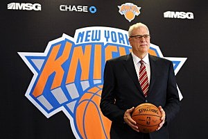 Phil Jackson stands for photos during his introductory press conference as President of the New York Knicks at Madison Square Garden