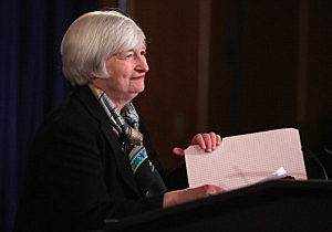Federal Reserve Board Chair Janet Yellen arrives at a news conference