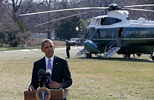 President Barack Obama speaks on the South Lawn of the White House to deliver a statement on Ukraine