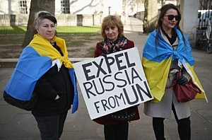 Protesters, many of the expatriate Ukrainians, demonstrate near Downing Street against the Russian annexation of Crimea