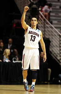 Nick Johnson #13 of the Arizona Wildcats signals in the second half of their game against the Gonzaga Bulldogs