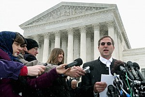 Conestoga Wood Specialties founder Anthony Hahn delivers a brief statement to the news media after the U.S. Supreme Court heard oral arguments in Sebelius v. Hobby Lobby