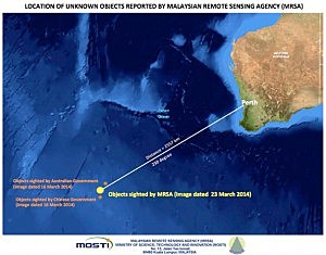 Location of unknown objects in the southern Indian Ocean, off the South West Coast of Perth, Australia.