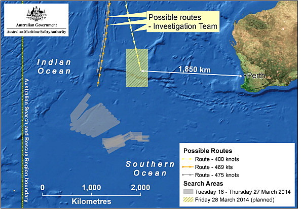 Map of the planned search area for missing Malaysian Airlines Flight MH370